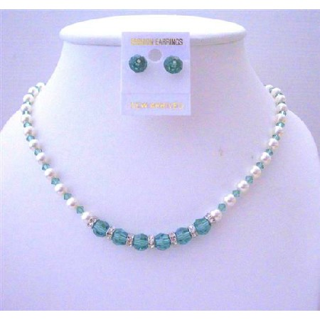 Erinite Green Swarovski Crystals & White Pearls Crystals Stud Earrings