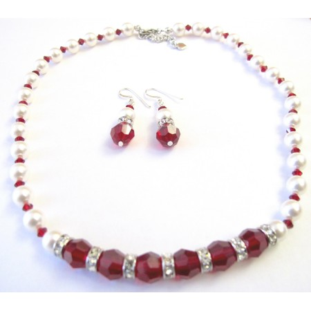 White Pearls Maroon Crystals 10mm Jewelry w/ Silver Rondells