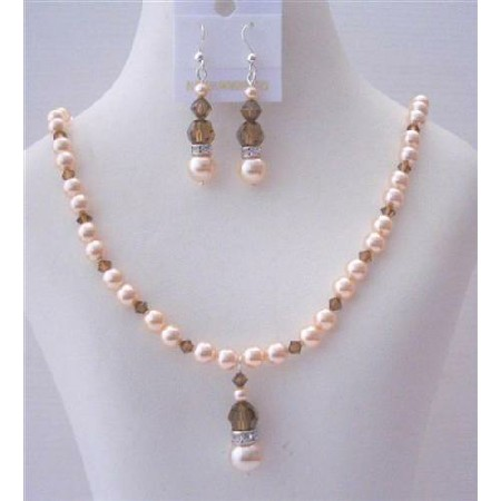 Peach Pearls Smoked Topaz Crystals Handcrafted Necklace Set