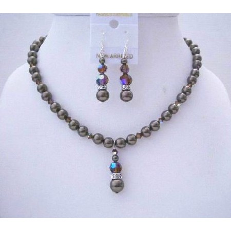 Dark Brown Crystals & Pearls Handmade Wedding Jewelry Set