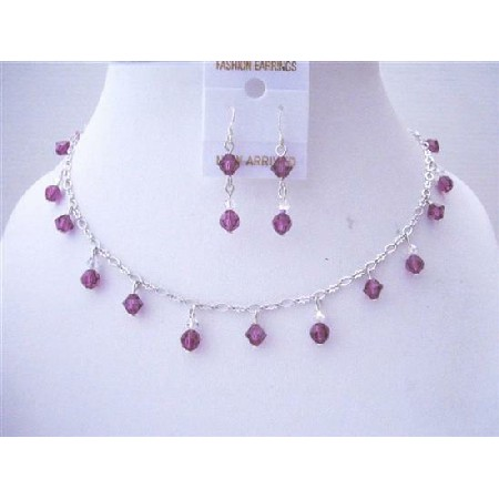 Handmade Swarovski Amethyst Crystals AB Necklace Bridemaid Jewelry Set