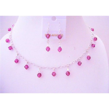 Fuchsia Crystals Handmade Bridal w/ AB Crystals Jewelry Set