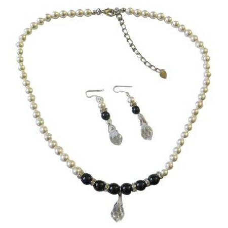 White Black Pearls w/ Silver Rondells Clear Crystals Teardop