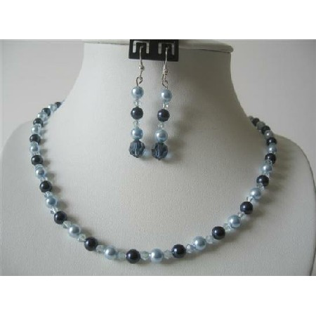 Aquamarine Crystals Pearls w/ Night Blue Pearls Jewelry Set
