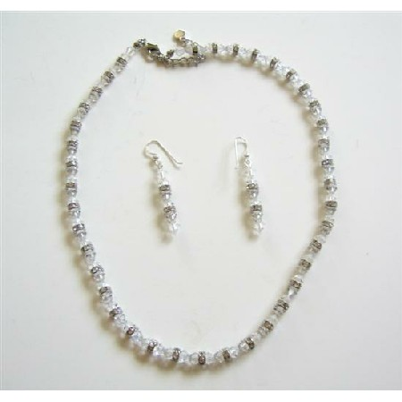 Clear Crystals Bridal Jewelry Set with Silver Rondells