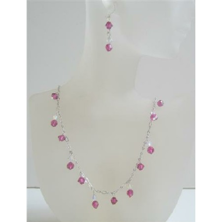AB with Fuchsia Crystals Custom Bridal Jewelry Necklace Set