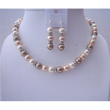 Cream Bronze Peach Swarovski Pearls Handcrafted Jewelry Silver Rondell