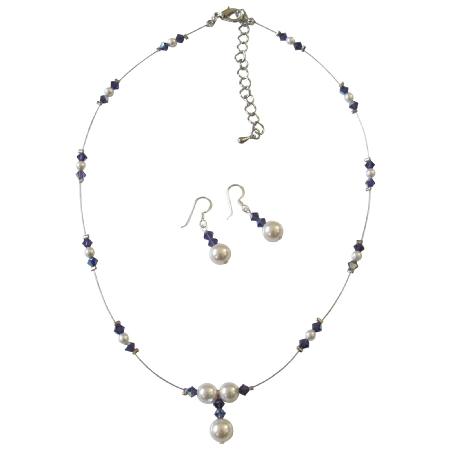 Swarovski Purple Violet AB Crystals with White Pearls Bridal Jewelry Set