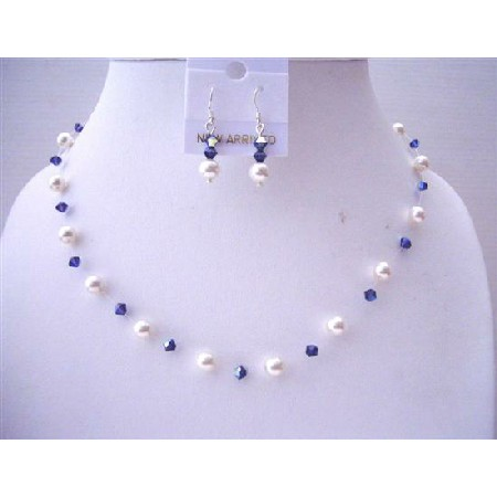 AB Violet Crystals White Pearls Custom Handcrafted Jewelry