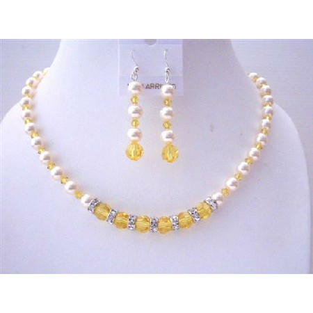 Pumpkin Crystals Lite Topaz Ivory Pearls Bridesmaid Jewelry