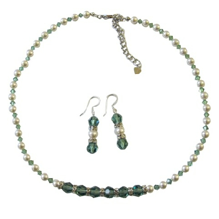 Pistachio Erinite Crystals w/ White Pearls Rondells Jewelry