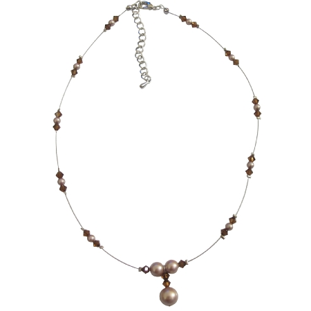 Champagne Pearls Smoked Topaz Pearls & Crystals Necklace Set