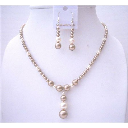 Bronze Pearls with Cream Pearls Handcrafted Wedding Jewelry