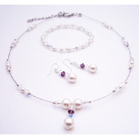 AB Swarovski Crystals Amethyst & White Pearls Drop Down Bridal Jewelry