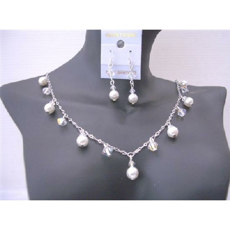 Sparkling Jewelry AB Crystals White Pearls Bridal Jewelry