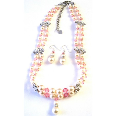 Rose Pink Crystals Ivory Pearls Double Stranded Necklace Set
