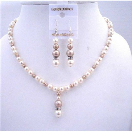 Ivory w/ Champagne Pearls Bridal Bridmemaids Jewelry