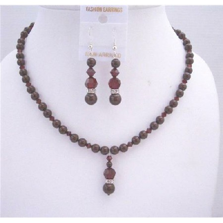 Maroon Pearls Dark Siam Red Crystals Drop Down Jewelry Set