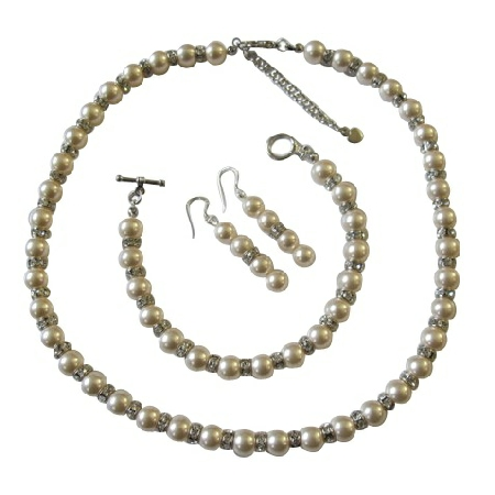 Ivory Pearls Bridal Jewelry w/ Sparkles Silver Rondells