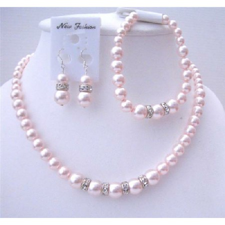 Bridal Wedding Jewelry Soothing Lite Pink Pearls Stretchable Bracelet