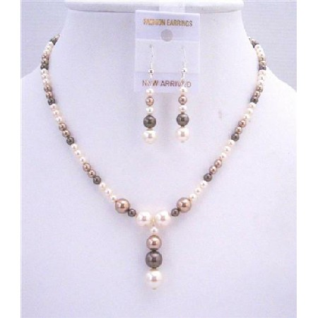 Ivory Bronze Dark Brown Pearls Jewelry Wedding Bridal Set