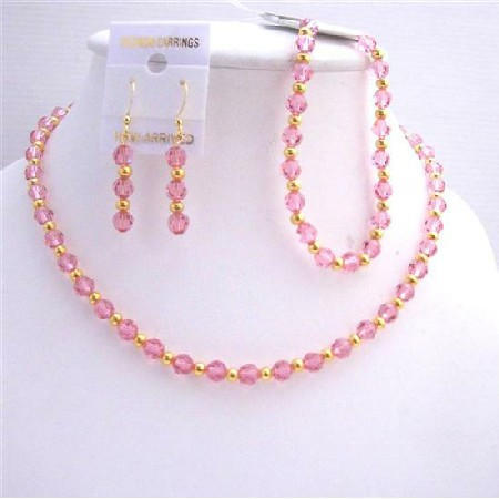Rose Pink Crystals Necklace Earring Bracelet Jewelry
