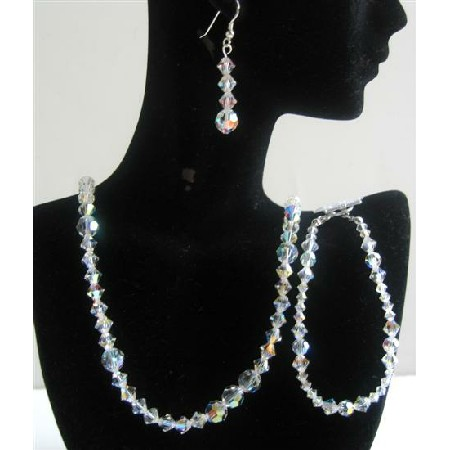 Irridiscent Swarovski AB Crystals Jewelry Sets Bridal Jewelry