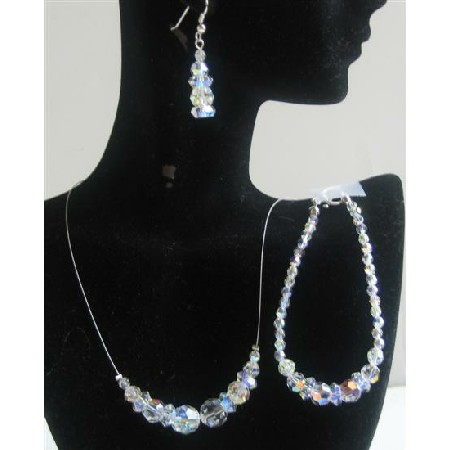 AB Round Crystals Jewelry Set Bridal Jewelry
