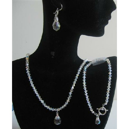 Bridal Bridesmaid AB Crystals Wedding Jewelry Teardrop Set