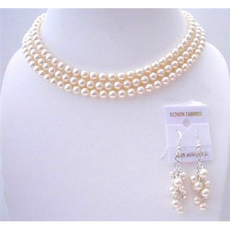 Ivory Pearls 3 Stranded Necklace Pearls Wedding Jewelry Set
