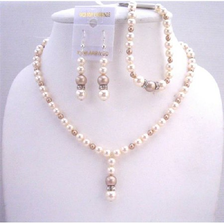 Bridal Ivory Champagne Pearls Jewelry Silver Rondells Sets