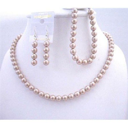 Handcrafted Champagne Pearls Necklace Earrings Bracelet Sets