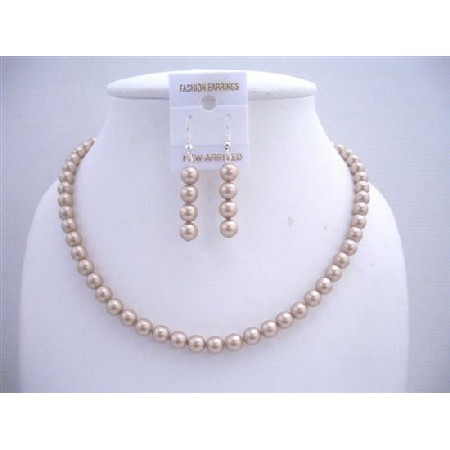 Champagne Pearls Bridesmaid Gift Dangling Pearls Necklace Earrings Set