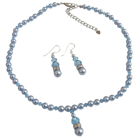 Blue Aquamarine Pearls Aquamarine Crystals Wedding Jewelry