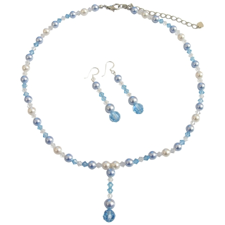 White Pearls Aquamarine Pearls Crystals AB Crystal Jewelry