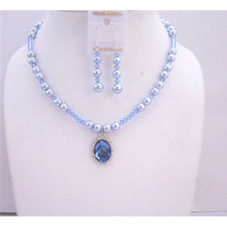 Blue Pearls Lite Sapphire Crystals w/ Pendant Necklace Set