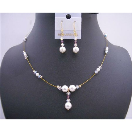 Gold Wire w/ White Pearls & AB Crystals Handcrafted Jewelry