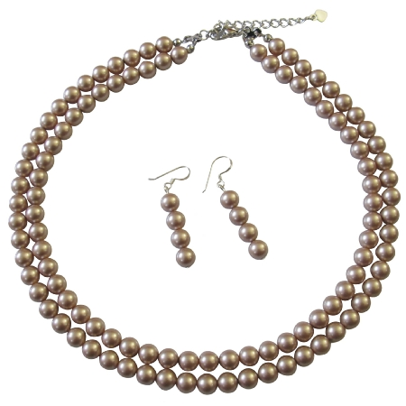 Champagne Pearls Double Stranded Necklace Bridal Jewelry Set