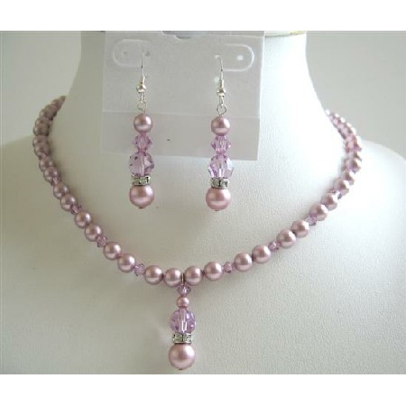 Lavender Crystals Jewelry Set Rose Pink Pearls Necklace Set