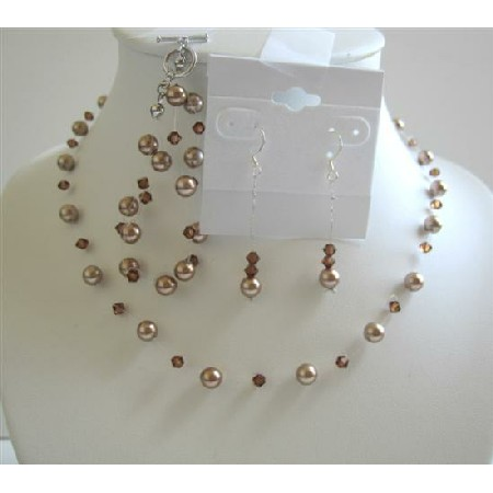 Bronze Pearls Smoked Topaz Crystal Necklace Earrings Jewelry