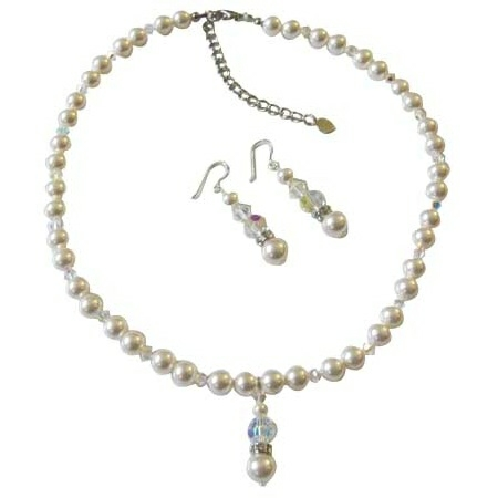 White Pearls AB Crystals Bridal Jewelry Handcrafted Necklace