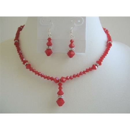 Deep Red Coral Swarovski Crystals Necklace Set w/ Silver Rondells