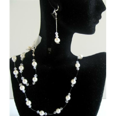 Clear Crystals Bridal Bridesmaid Wedding Jewelry Set w/ White Pearls