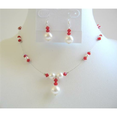 Coral Color Crystals w/ White Pearls Bridesmaid Jewelry Set