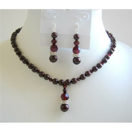 Bridesmaid Jewelry Meroon Pearls & Garnet Crystals Necklace