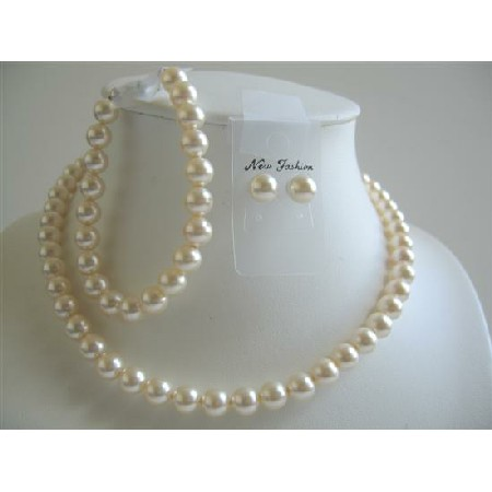 Ivory Pearls 8mm Earrings Bracelet Bridal Pearls Jewelry Set