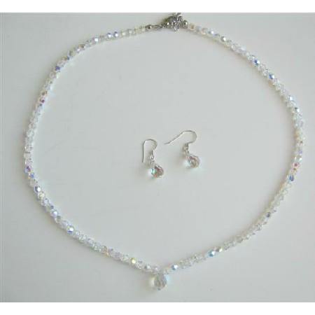 Swarovski AB Round Crystals Bridal Dainty Jewelry w/ Teardrop