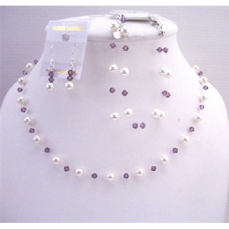 White Pearls Amethyst Crystals Bridesmaid Affordable Jewelry
