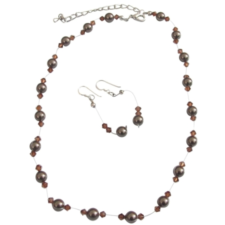 Dark Chocolate Brown Pearls & Smoked Topaz Crystals Wedding Jewelry Set