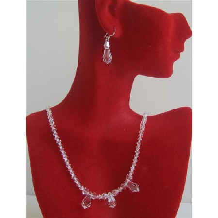 Clear Crystals w/ 3 AB Teardrop Crystals Bridal Necklace Set